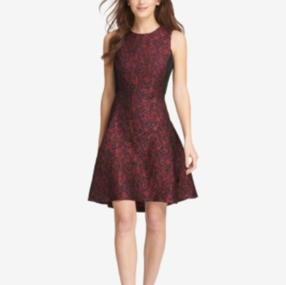 Dkny Dresses & Skirts - Dkny Jacquard Fit & Flare Dress Red Black Midi